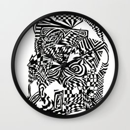 Face, Black/White Abstract (ink drawing) Wall Clock