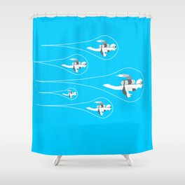 popfuture: jetpack Shower Curtain
