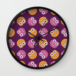 Purple Pink And Orange Bugs Pattern Wall Clock