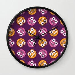 Purple Pink And Orange Bugs Pattern Wall Clock
