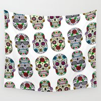 sugar skulls Wall Tapestries featuring Sugar skulls by very giorgious