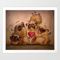 pugs Art Prints featuring Angelic Pugs by Tamlyn Teow