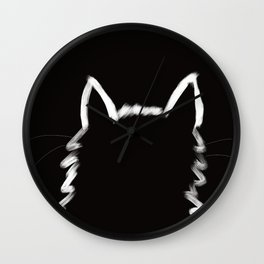 Black Cat In The Light Wall Clock