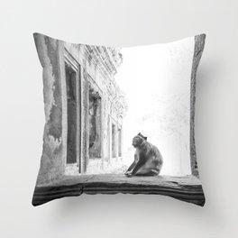 Sitting Monkey Throw Pillow
