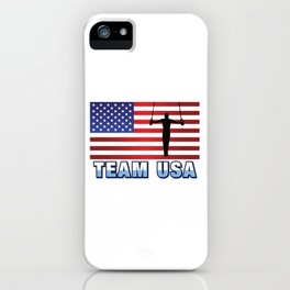 Team USA Rings Gymnastics American Flag Flying Rings Sports Gift Design iPhone Case