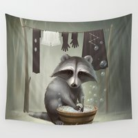 raccoon Wall Tapestries featuring Raccoon by Antracit
