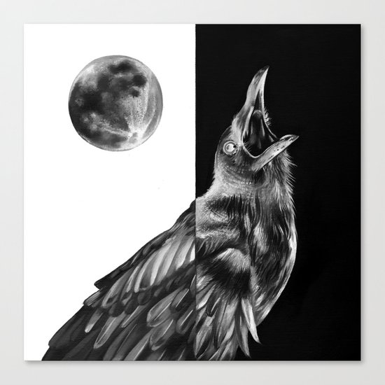 Crow and Full Moon Canvas Print