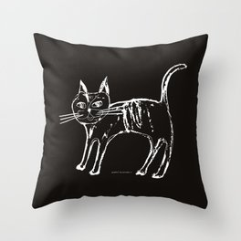 Little cat  white-black Throw Pillow