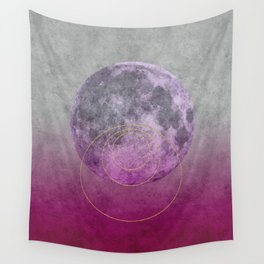 Pink Moon geometric circle mixed media Wall Tapestry