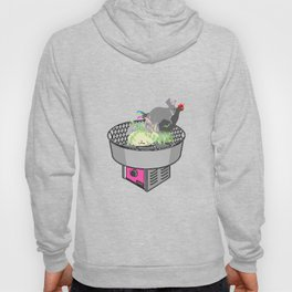 RABBITS AND ROOSTER ON COTTON CANDY MACHINE Hoody