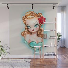Rockabilly Babydoll Blonde with Red Rose Wall Mural