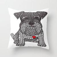 schnauzer Throw Pillows featuring Spunky - Schnauzer by DiAnne Ferrer