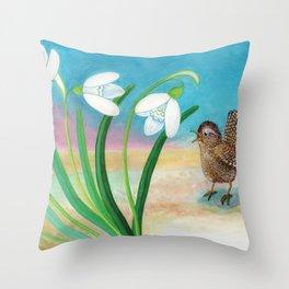 Wren Bird & Snowdrop Throw Pillow