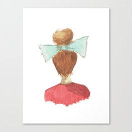 lady in a bow, blonde Canvas Print