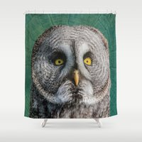 grey Shower Curtains featuring GREY OWL by Catspaws
