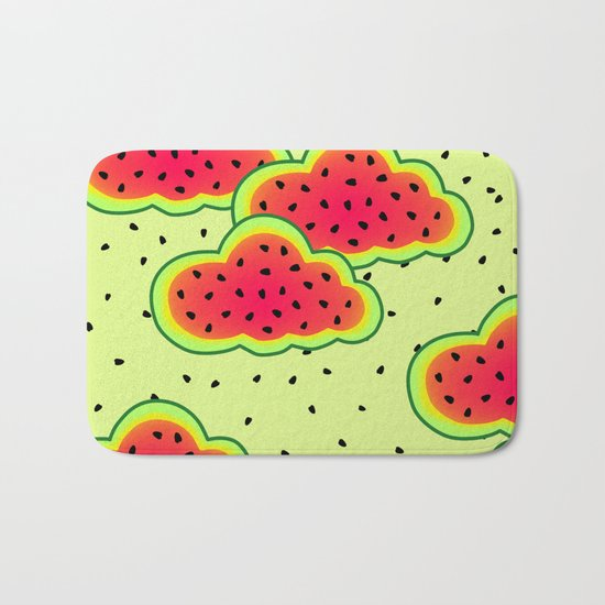Watermelon Clouds Design Bath Mat