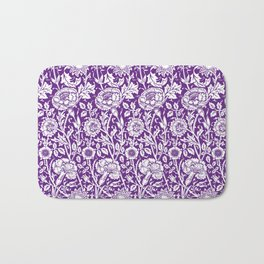 "William Morris Floral Pattern | ""Pink and Rose"" in Purple and White Bath Mat"