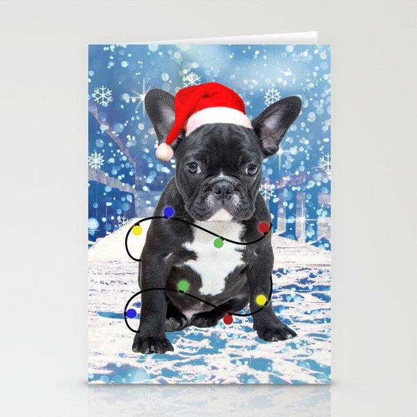 French Bulldog Holidays Christmas Snow Stationery Cards