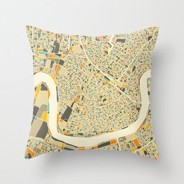 New Orleans Map Throw Pillow