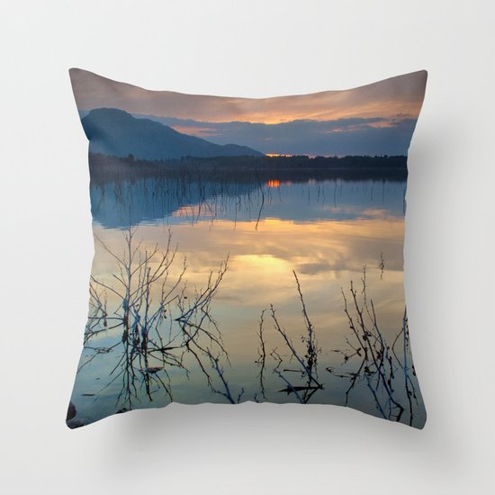 Clouds on the pink water Throw Pillow