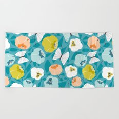 Butterfly Blossom Floral Turquoise Beach Towel