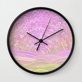 Pink Sunrise Mandala Wall Clock