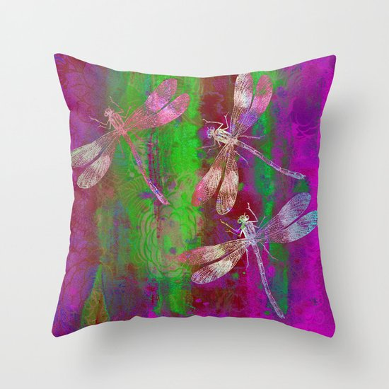 A Dragonflies QR Throw Pillow