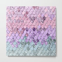Mermaid Scales with Unicorn Girls Glitter #1 #shiny #pastel #decor #art #society6 Metal Print