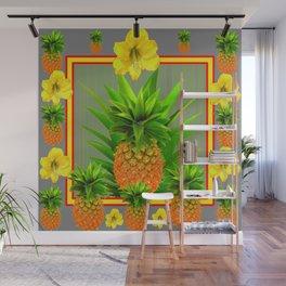 HAWAIIAN FLORAL GREY COLOR PINEAPPLE ART Wall Mural