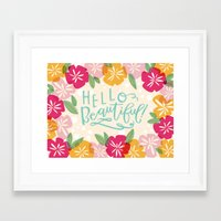 hello beautiful Framed Art Prints featuring Hello Beautiful by Jasmine Nora Jones