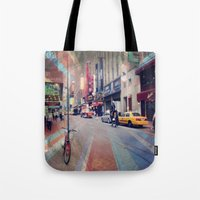broadway Tote Bags featuring On Broadway by Wired Circuit