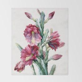 Flowering cactus Throw Blanket
