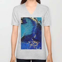 BLUE AND GOLD MARBLE TEXTURE Unisex V-Neck