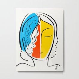 Graphic Minimal Portrait Design Orange Yellow and Blue Metal Print