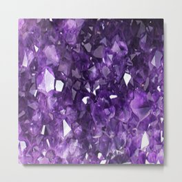 FEBRUARY PURPLE AMETHYST CRYSTALS BIRTHSTONE Metal Print