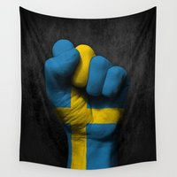 swedish Wall Tapestries featuring Swedish Flag on a Raised Clenched Fist by Jeff Bartels