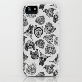 Black and White Pups iPhone Case
