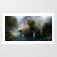 His Realm - White stag in beautiful otherwordly Landscape Art Print