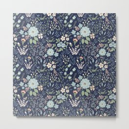 Star Sapphire Floral Metal Print