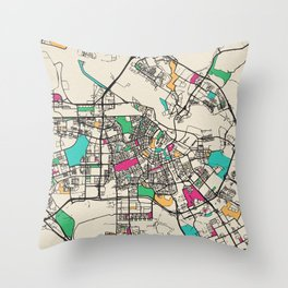 Colorful City Maps: Amsterdam, Netherlands Throw Pillow