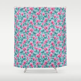 Pink & Teal Lovely Floral Shower Curtain