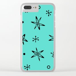 Atomic Era Space Age Turquoise Clear iPhone Case