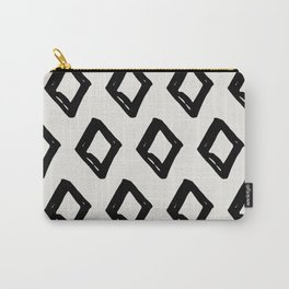 Modern Diamond Pattern Black on Light Gray Carry-All Pouch