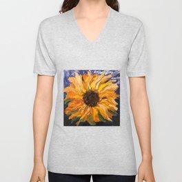 Fiery Sunflower - Original Painting Unisex V-Neck