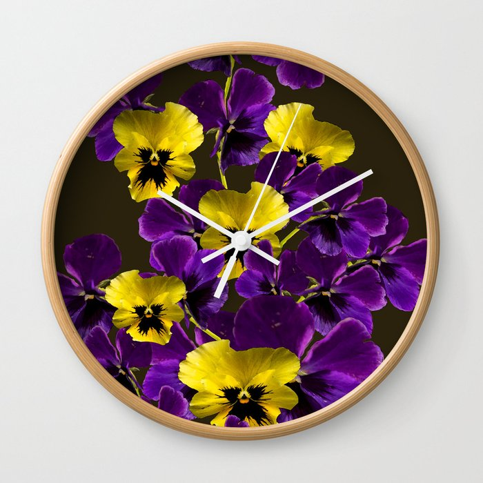 Purple and yellow flowers on a dark background decor buyart purple and yellow flowers on a dark background decor buyart society6 wall clock mightylinksfo