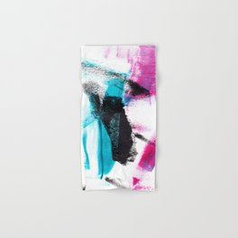 Modern hand painted pink turquoise black brushstrokes acrylic paint Hand & Bath Towel