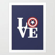 LOVE, Cap. America Hero Art Print