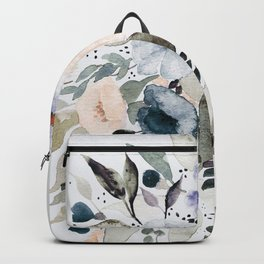 Loose Blue and Peach Floral Watercolor Bouquet  Backpack