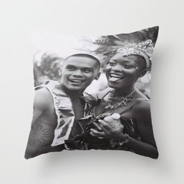 Caribana Festival Parade Costume revellers Black and white photo  Throw Pillow