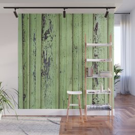 Rustic mint green grunge wood panels Wall Mural